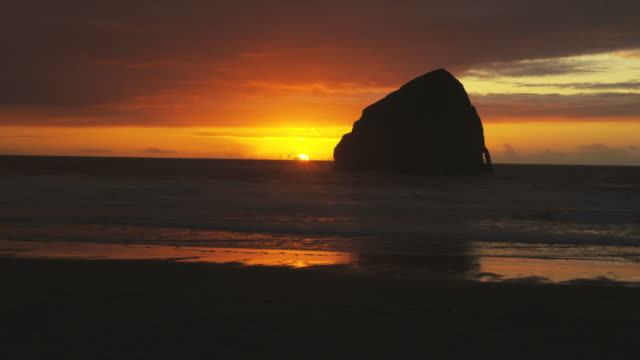 coastal sunset - pacific city stock videos & royalty-free footage