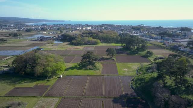 ws aerial coastal town and rice fields, yuza, yamagata prefecture, japan - 場所点の映像素材/bロール