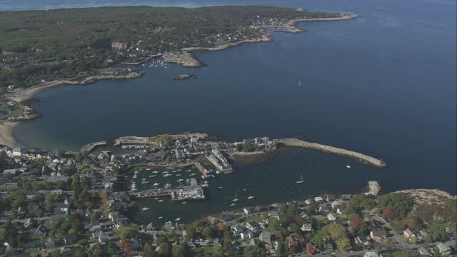 aerial coastal town of rockport and its harbor / massachusetts, united states - rockport massachusetts stock videos & royalty-free footage