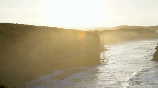 coastal view at dawn twelve apostles national park - great ocean road stock videos & royalty-free footage