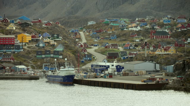 coastal view of sisimiut greenland - inuit stock videos and b-roll footage