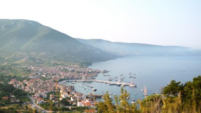 pan coastal village komiza in croatia - adriatic sea stock videos & royalty-free footage