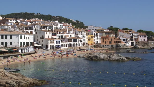 coastal village of calella de palafrugell in spain - fishing village stock videos and b-roll footage