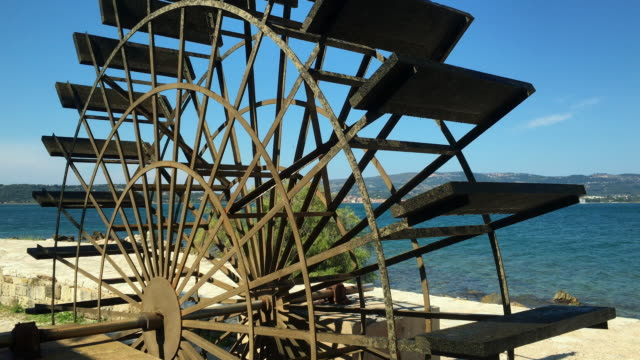 Coastal waterwheel at Katavothres on the Kefalonia coast.