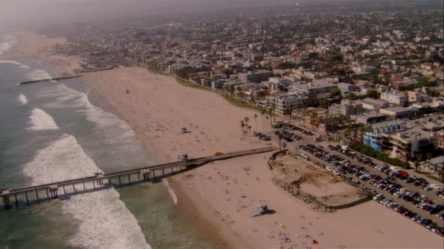 AERIAL coastline and beach, Venice Beach, California, USA