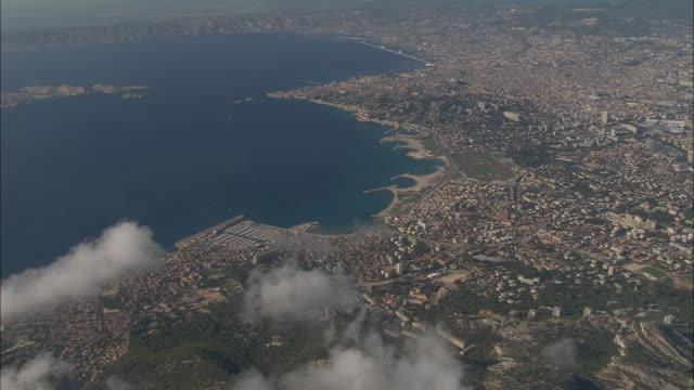 AERIAL Coastline and clouds/ Marseilles, France