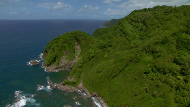 Coastline and Grand Marigot Bay near the village of Good Hope on the Island of Dominica.