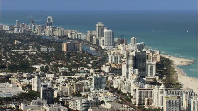 AERIAL, Coastline, Miami, Florida, USA