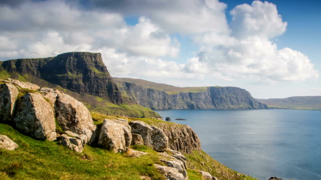 coastline next to neist point at isle of skye. - skye stock videos and b-roll footage