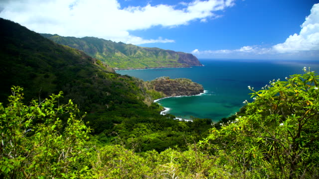 coastline of nahoe mountains paradise pacific hiva oa - polynesian ethnicity stock videos and b-roll footage