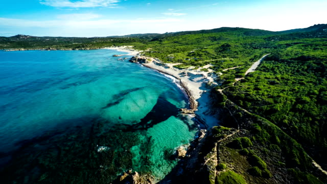 AERIAL : Coastline of Sardinia with Beach - Italy
