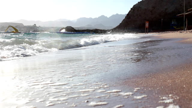 Coastline of the sandy beach of the Red Sea in Egypt.