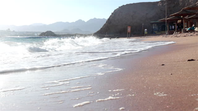 coastline of the sandy beach of the red sea in egypt. - red sea stock videos & royalty-free footage