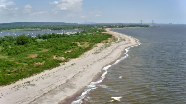 aerial coastline of the staten island, new york - staten island stock videos and b-roll footage