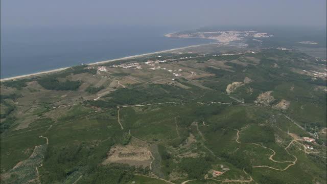 AERIAL WS Coastline towards Nazare / Nazare, Leria, Portugal
