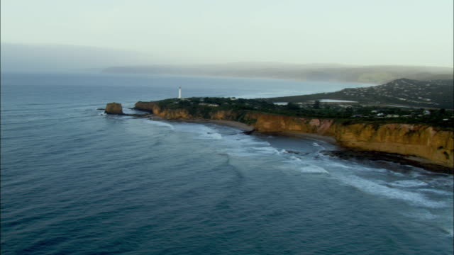 WS AERIAL Coastline with lighthouse, Melbourne, Victoria, Australia