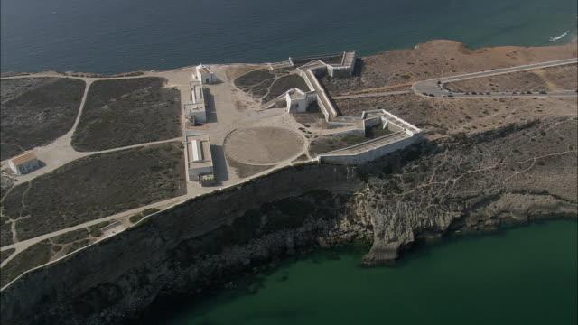 AERIAL WS Coastline with Sagres fort / Sagres, Faro, Portugal