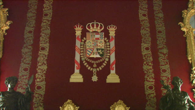 ws td coat of arms and two ornate chairs in royal palace, madrid, spain - throne stock videos & royalty-free footage