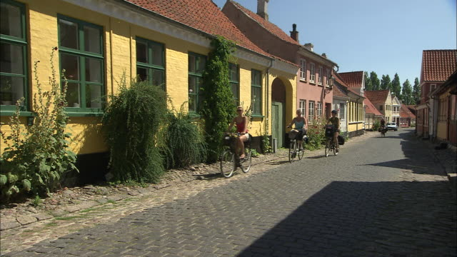 cobblestone cycling, aero, denmark - bicycle parking station stock videos and b-roll footage