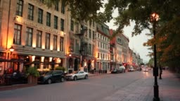 Cobblestone streets in Old Montreal Quebec Canada