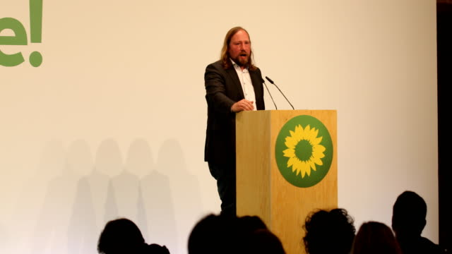 cochair of the green party's parliamentary group anton hofreiter during his speech at a greens party congress ahead of european elections on may 18... - green party stock videos and b-roll footage
