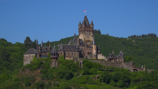 cochem imperial castle, cochem, moselle river, rhineland-palatinate, germany - rhineland palatinate stock videos & royalty-free footage