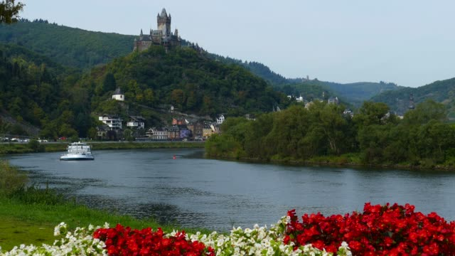 cochem imperial castle, cochem, moselle river, rhineland-palatinate, germany, europe - circa 12th century stock videos & royalty-free footage