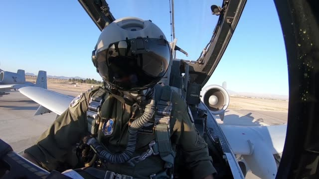 cockpit footage of a-10 thunderbolt ii pilot conducting flying operations for green flag west at nellis air force base, nevada, 4 june 2019.. - us airforce stock videos & royalty-free footage