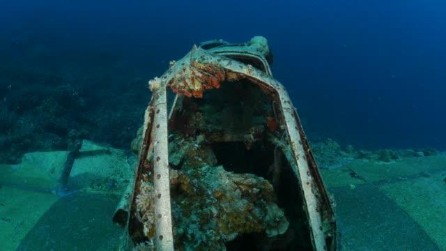 cockpit of japanese undersea seaplane wreck - undersea stock videos & royalty-free footage