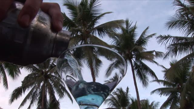 stockvideo's en b-roll-footage met cu pan cocktail and palm trees / bunaken national park, sulawesi island, indonesia    - tropische drankjes