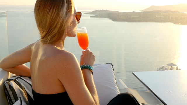 Cocktail & famous Santorini view