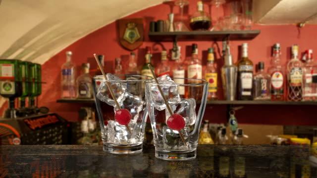 Cocktail with Maraschino cherry