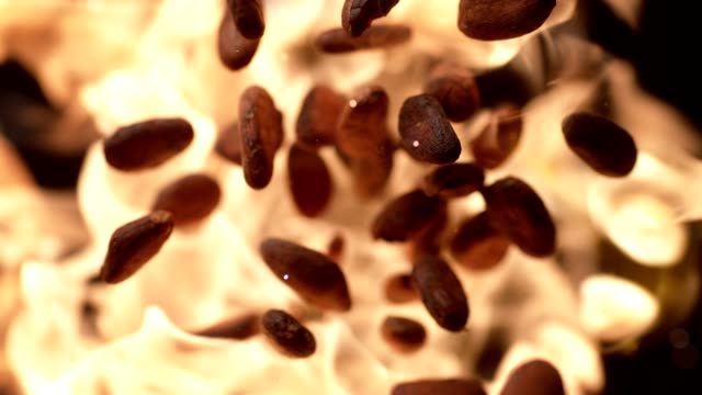vídeos de stock e filmes b-roll de cocoa beans roasting on flames. super slow motion - café bebida