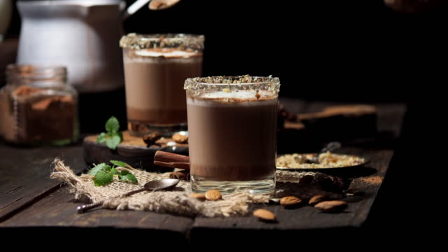 cocoa with almond milk - cocoa powder stock videos & royalty-free footage