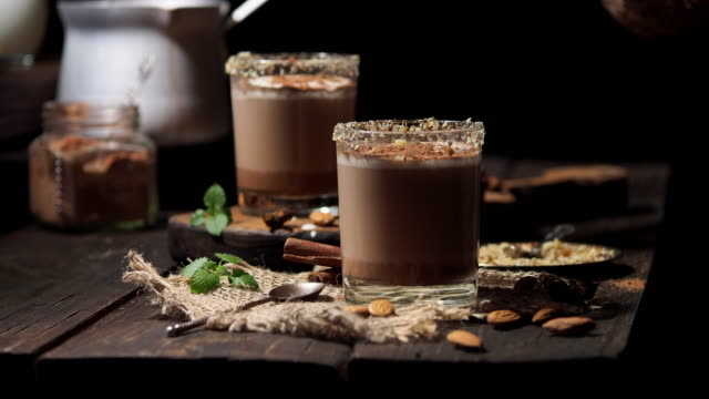 cocoa with almond milk - almond milk stock videos & royalty-free footage