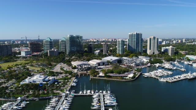 coconut grove skyline over biscayne bay - grove stock videos & royalty-free footage