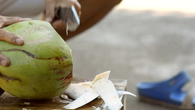coconut opening breaking - coconut stock videos & royalty-free footage