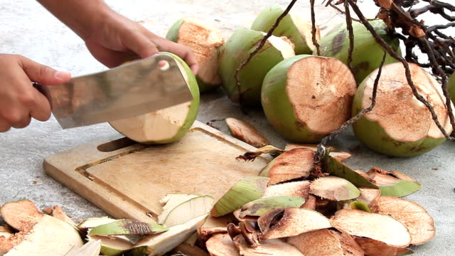 coconut - peeling food stock videos & royalty-free footage