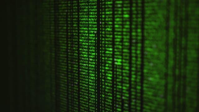 vídeos de stock, filmes e b-roll de código e dados em execução em um monitor de computador - código binário