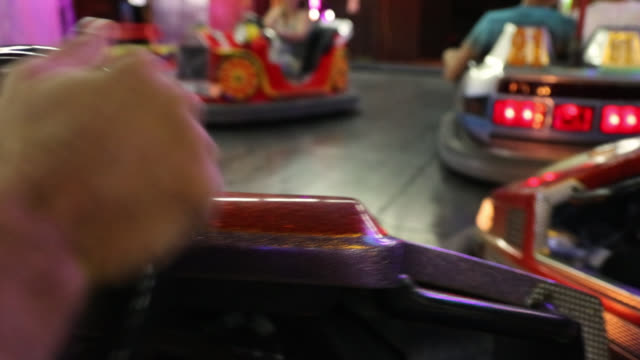co-driver's point of view in amusement park - bumper car stock videos & royalty-free footage