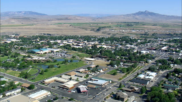 cody  - aerial view - wyoming,  park county,  united states - wyoming stock videos & royalty-free footage
