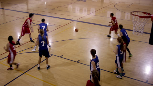 co-ed high school basketball players - basket ball stock videos and b-roll footage