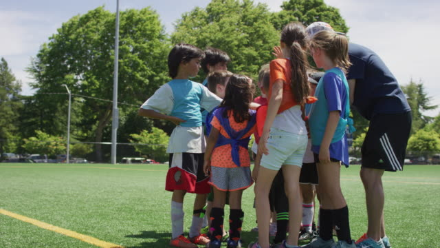 co-ed young soccer team huddle - mixed race person stock videos & royalty-free footage