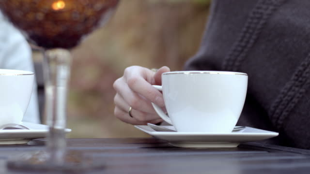 Coffe cup on the table, close-up