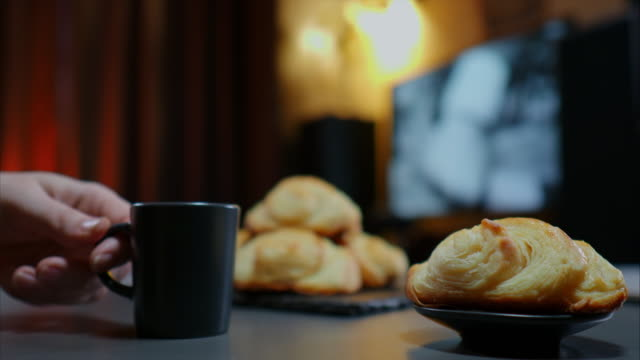 coffee and croissant - coffee cup stock videos & royalty-free footage