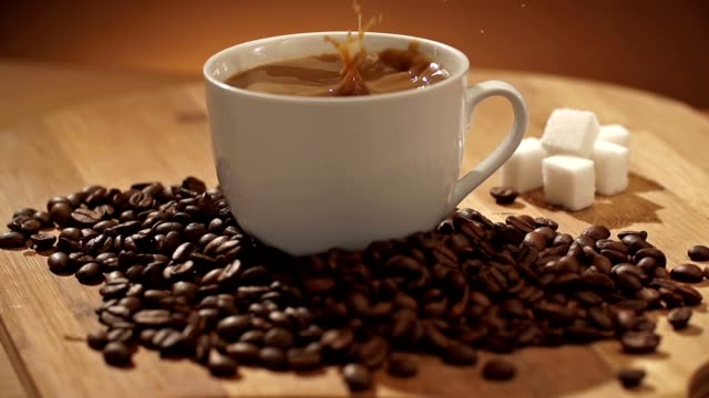 coffee and sugar cubes - sugar cube stock videos & royalty-free footage