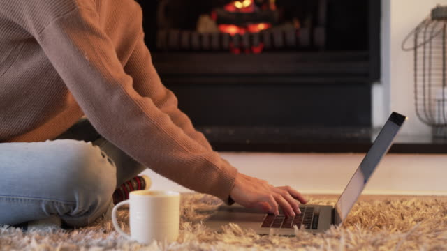coffee and wifi keep the winter chill away - cosy stock videos & royalty-free footage