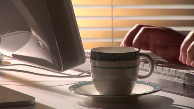 hd: coffee at work - blinds stock videos & royalty-free footage