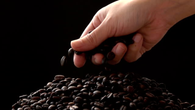 Coffee Bean Gripped Slow Motion