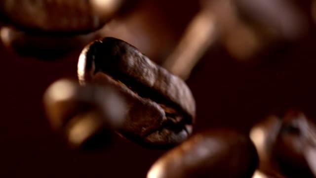 kaffeebohnen, die herunterfallen - kaffee stock-videos und b-roll-filmmaterial